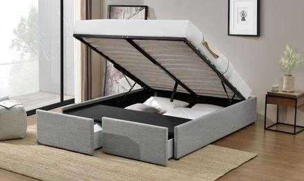 lit coffre avec matelas en option groupon shopping. Black Bedroom Furniture Sets. Home Design Ideas