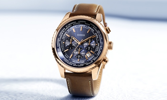 Montre Homme XL Chronographe W0500G1 avec bracelet en cuir Guess