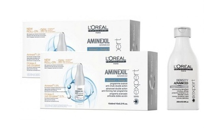 Fiale anticaduta L'Oréal Professionnel Aminexil Advanced 42x6ml o 20x6ml e Shampoo Density Advanced 250ml in omaggio