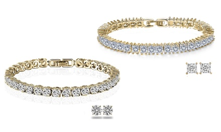 Square or Round Duo Set with Crystals from Swarovski® from AED 89 (Up to 91% Off)