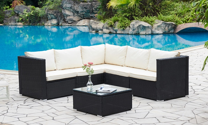 Miami Rattan-Effect Five-Seater Outdoor Set with Coffee Table and Optional Cover for £299.99