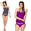 Women's Crossover Halter Tankini Swimsuit with Banded Hipster Bottom