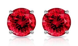 10K White Gold 2.00 CTW Created Ruby Stud Earrings by MUIBLU Gems