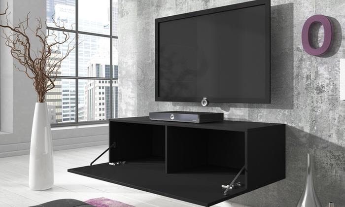 meuble tv flottant laqu groupon. Black Bedroom Furniture Sets. Home Design Ideas