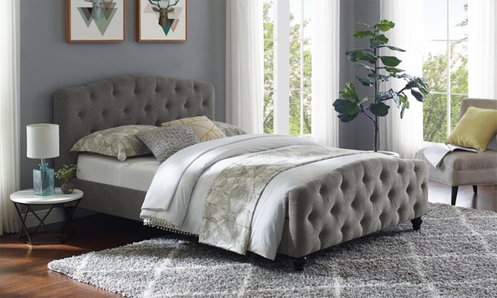 Washington Deep Buttoned Fabric Bed Frame with Optional Mattress