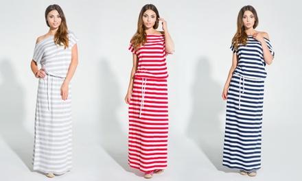 Gestreepte jurk met korte mouwen maat en kleur naar keuze voor € 19,99 korting