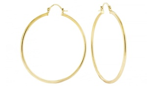 14K Solid Gold 40mm Hoop Earrings