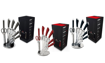 Berlinger Haus Eight Piece Stainless Steel Knife Block Set for €29.99