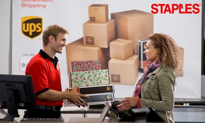 Staples - Multiple Locations: UPS Shipping at Staples (Up to 25% Off). Two Options Available.