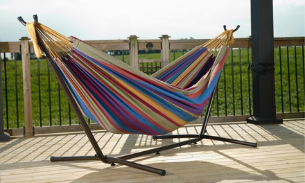 Vivere Cotton Double Hammock with Stand. Available in 5 Colors.