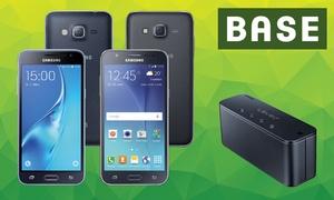 handyflash: BASE pur Allnet Flat mit 3 GB für mtl. 14,99 €* + Samsung Galaxy Smartphone ab 1 € Zuzahlung** + Samsung Level-Box mini