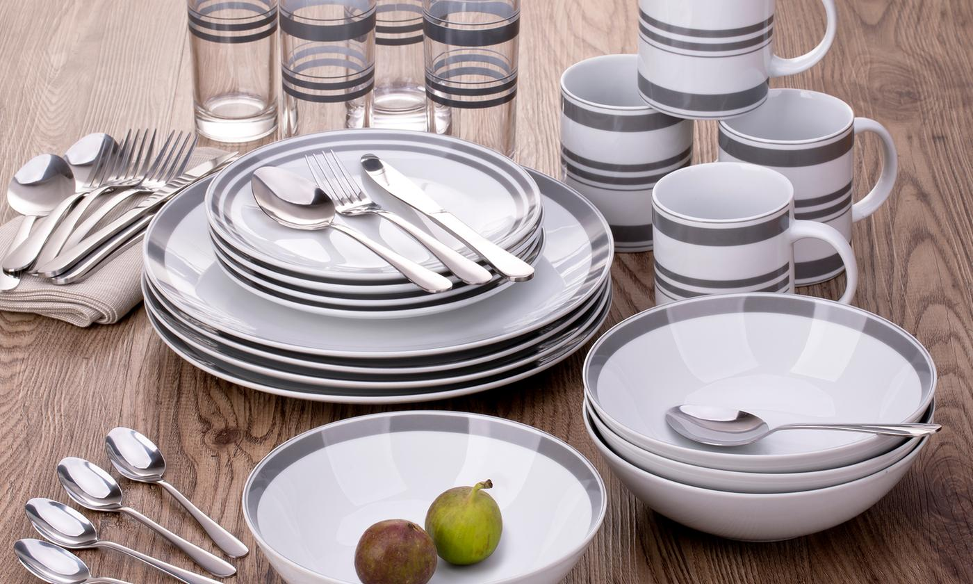 Waterside 36-Piece Grey and White Stripe Dinner Set With Free Delivery