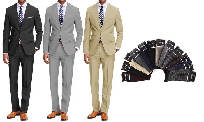 Groupon Braveman Men S Clic Fit Suits With Pair Of Socks