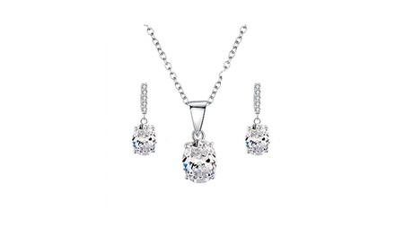 Sreema London Oval Pave Necklace and Earrings Set