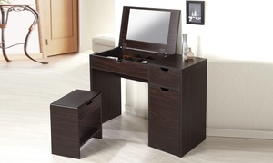 Furniture of America Multi-Storage Vanity Table with Mirror and Stool