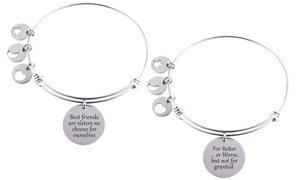Inspirational Adjustable Bangle in Stainless Steel by Pink Box
