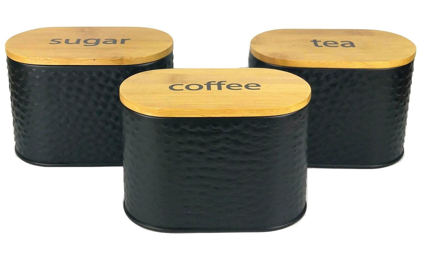 Set of Three Food Storage Canisters with Bamboo Lids