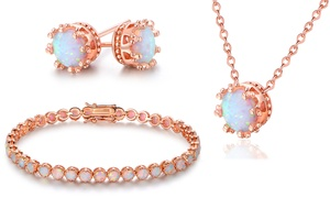 22 CTTW Lab-Created Opal Crown Jewelry Set in 18K Rose Gold Plating