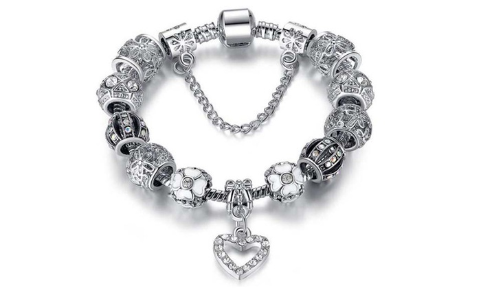 charm bracelet made with swarovski elements groupon. Black Bedroom Furniture Sets. Home Design Ideas