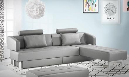 Grand canapé multifonction 5 places avec pouf 2 en 1, livraison offerte