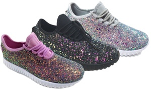 Epic Step Women's Glitter Jogger Sneakers