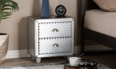Davet French Industrial Silver Metal Accent Chest or Nightstand