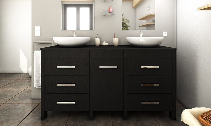 meuble de salle de bain 150 cm avec double vasque groupon. Black Bedroom Furniture Sets. Home Design Ideas