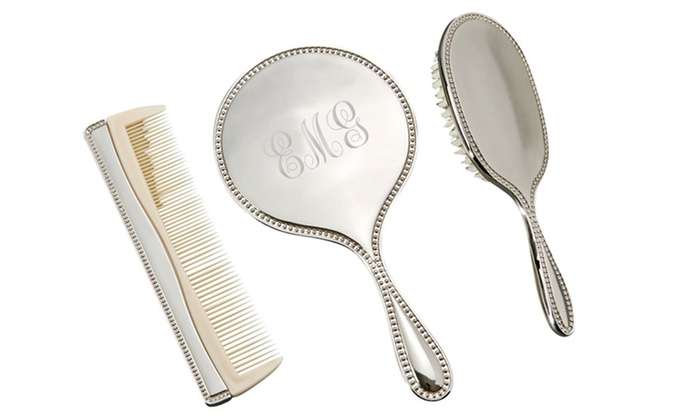 Personalized Three-Piece Dresser Set with Mirror, Brush, and Comb from  Monogram Online