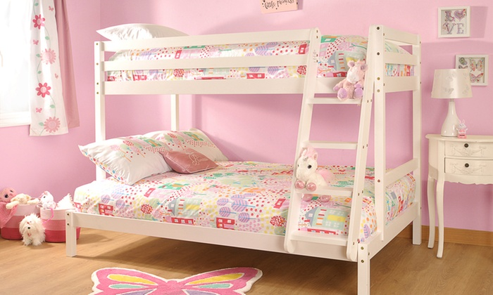 Wooden Triple Bunk Bed with Two Optional Mattresses