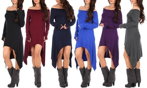 Women's Open-Shoulder Dress with Thumbholes