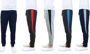 Men's Heavyweight Fleece-Lined Joggers with Contrast Side Trim