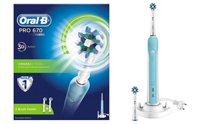 Oral-B PRO 670 CROSS ACTION SPAZZOLINO ELETTRICO RICARICABILE 3D