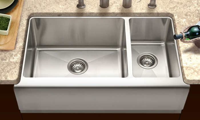 Houzer Apron-Front Stainless Steel Farmhouse Sink: Houzer 70/30 10-Inch ...