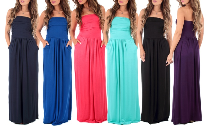 Women's Strapless Ruched Maxi Dress with Pockets