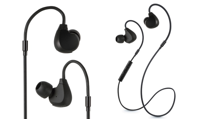 jarv flight bluetooth water resistant earbuds with memory wire groupon. Black Bedroom Furniture Sets. Home Design Ideas