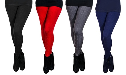 One, Two or Four Pairs of CableKnit Design Stretch Leggings in Choice of Colours