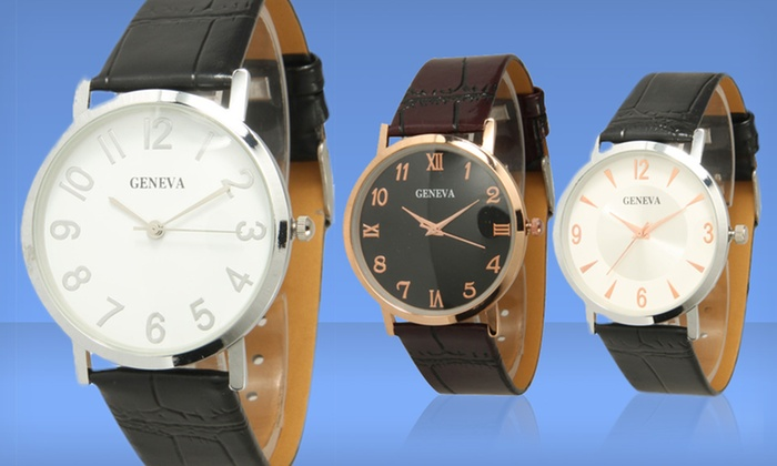 Geneva Men's Faux Leather Watch: $9.99 for a Geneva Men's Faux Leather Watch ($18.99 List Price). Multiple Options Available. Free Returns.