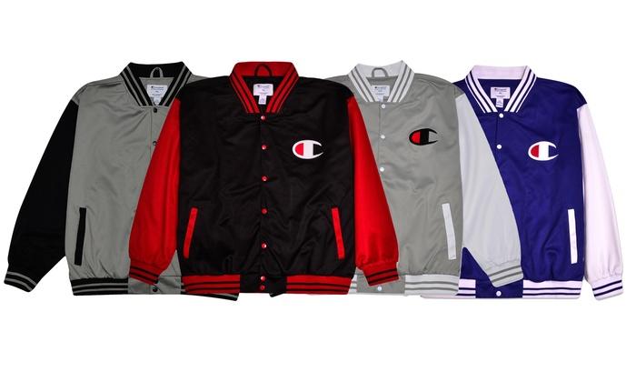 97b0fd6949f4 Champion Men's Big & Tall Script Logo Varsity Track Jacket (XLT-4XLT &  2XL-6XL)