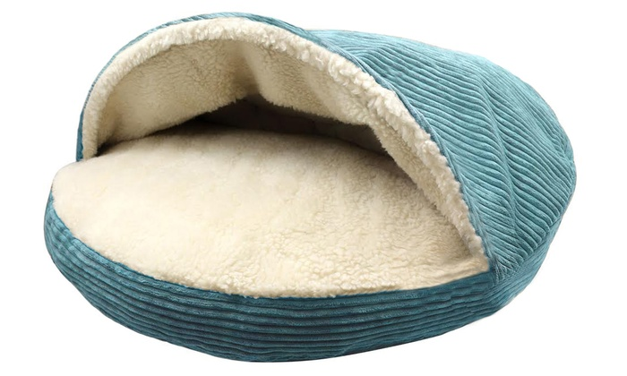 round corduroy pet cave bed with plush sherpa interior round corduroy pet cave bed with