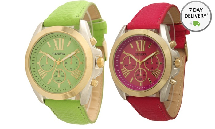 Faux-Leather Boyfriend Watch: Women's or Unisex Faux-Leather Boyfriend Watch. Multiple Styles Available. Free Returns.