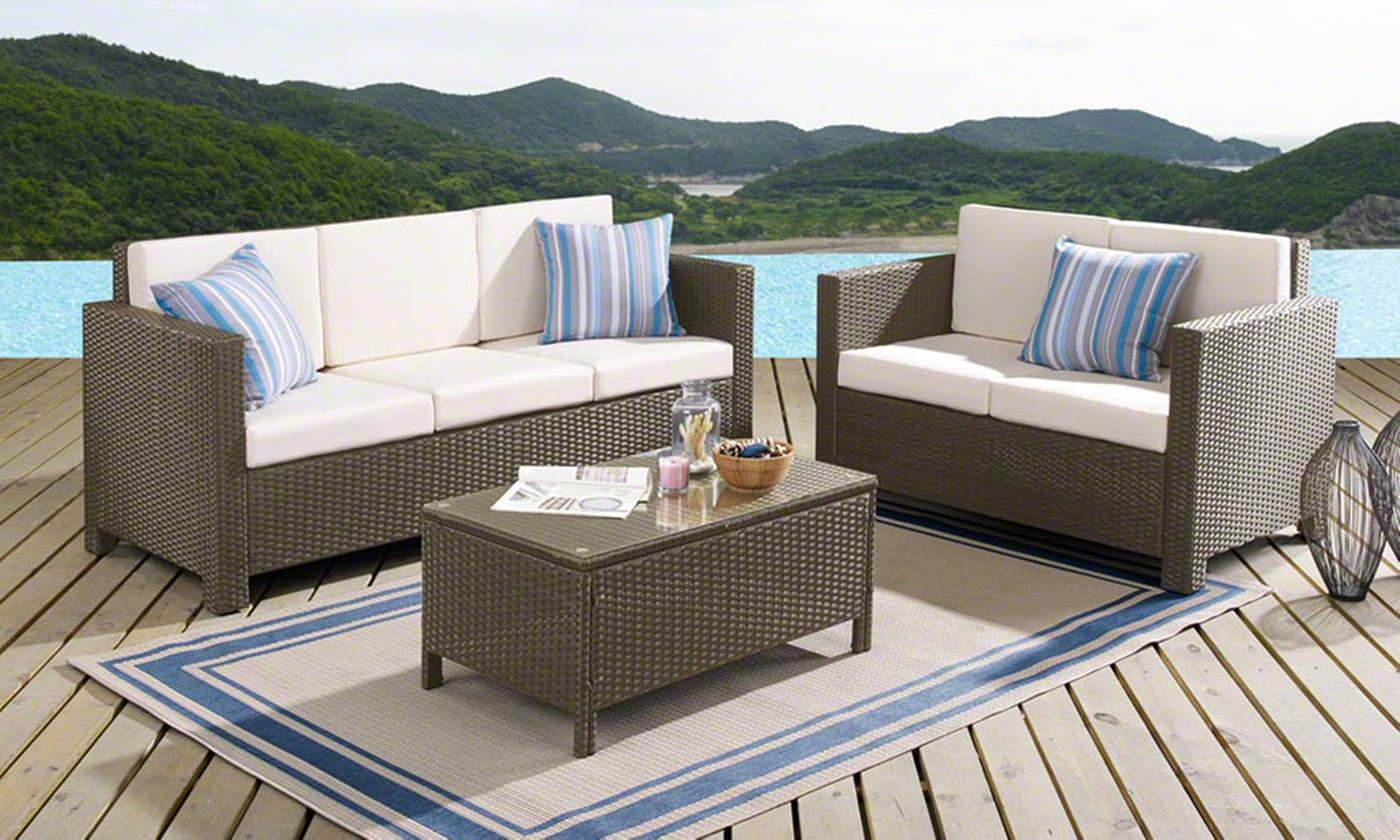 Five-Seater Rattan-Effect Corner Sofa Set with Optional Cover (£399.98)