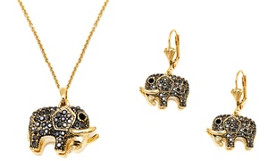 Crystal Elephant Jewelry Set in 18K Gold Plating by Barzel
