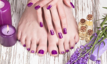 One or Three Deluxe Aveda Mani-Pedis with Paraffin and Salt Scrub at Elan Hair & Spa (Up to 53% Off)