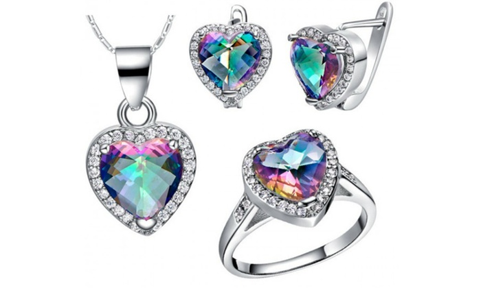 Fakurma UK - Merchandising (AE): Heart-Tri Set made with Swarovski Elements from AED 99 With Free Delivery (Up to 92% Off)