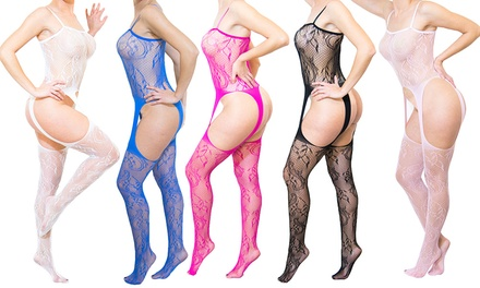 Catsuit sensuale a rete larga con decori in pizzo disponibile in 3 colori