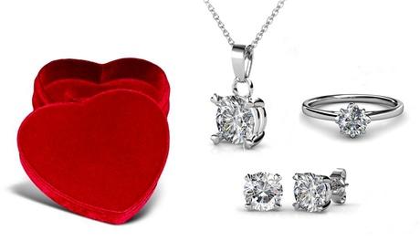 Set de joyas decorado con cristales de Swarovski® Oferta en Groupon