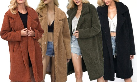 Women's Long Teddy Fleece Coat