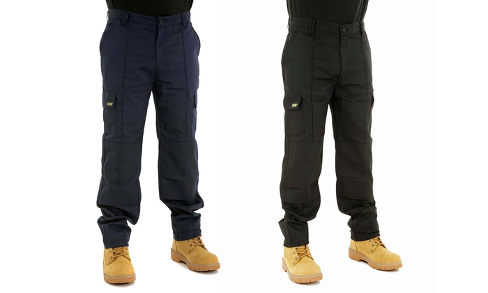 Site King Men's Cargo Work Trousers with Knee Pad Pockets From £11.99