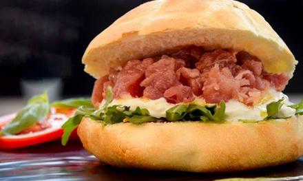 Menu fish burger con vino
