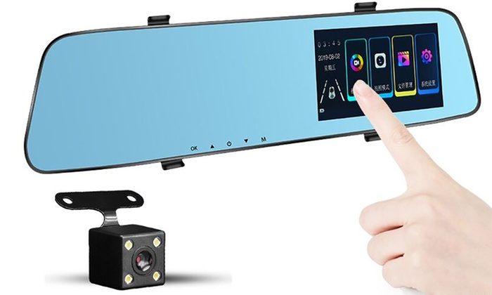 Dual-Mirror Touchscreen Front and Rear 1080p Dash Camera with Optional 32GB SD Card